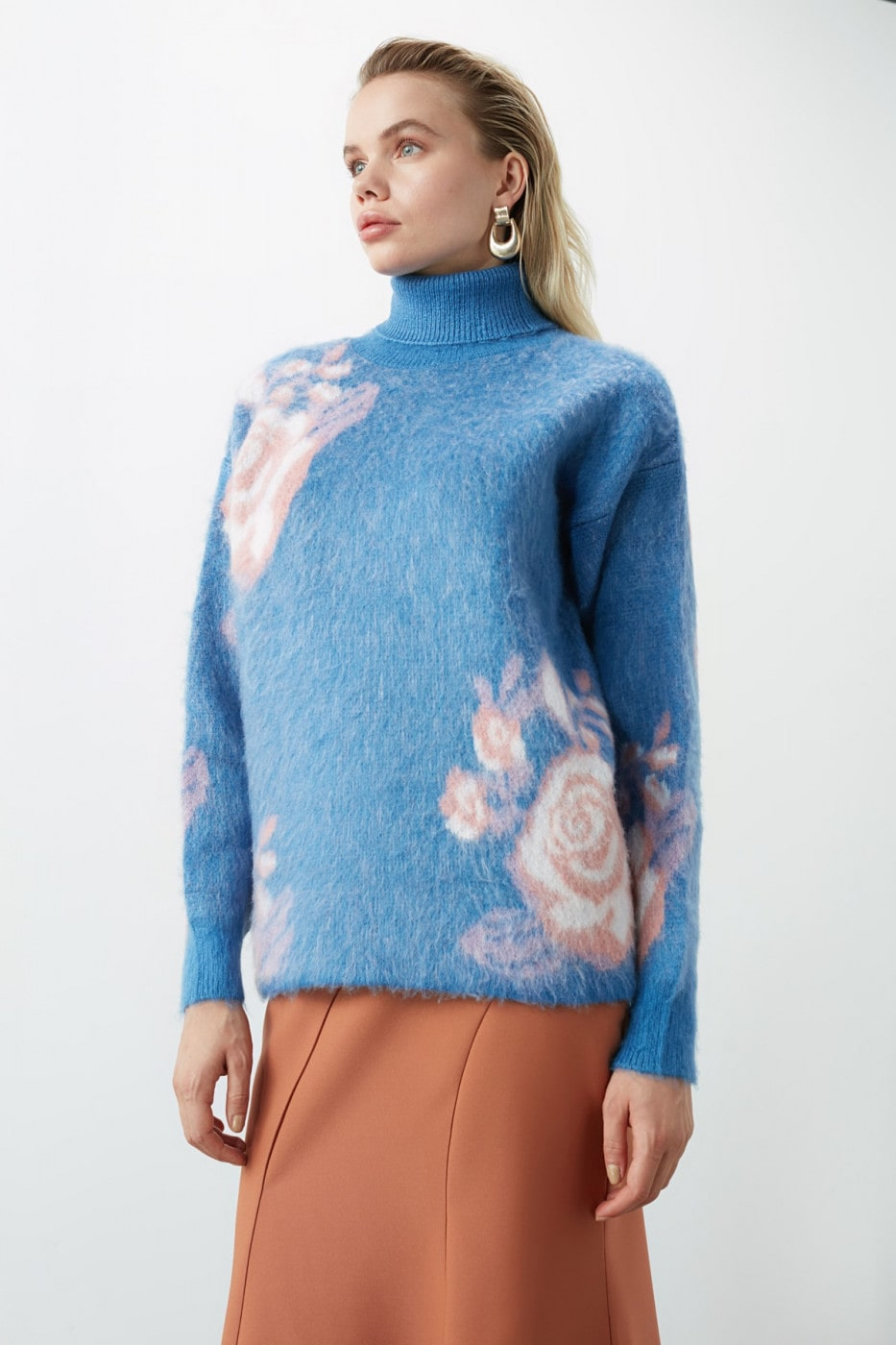 Trendyol Blue Soft Textured Special Technical Knitsweater
