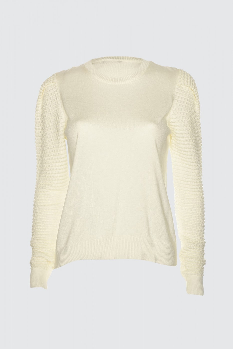 Trendyol Ekru Arm Knitted Detailed Knitwear Sweater