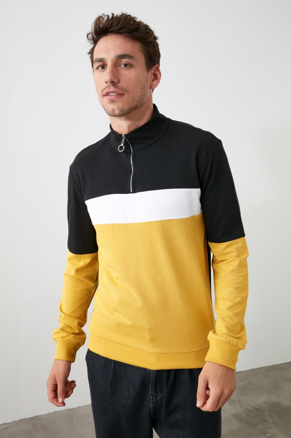 Trendyol Mustard Men PanelLong Sleeve Dominant Collar Zippered Sweatshirt