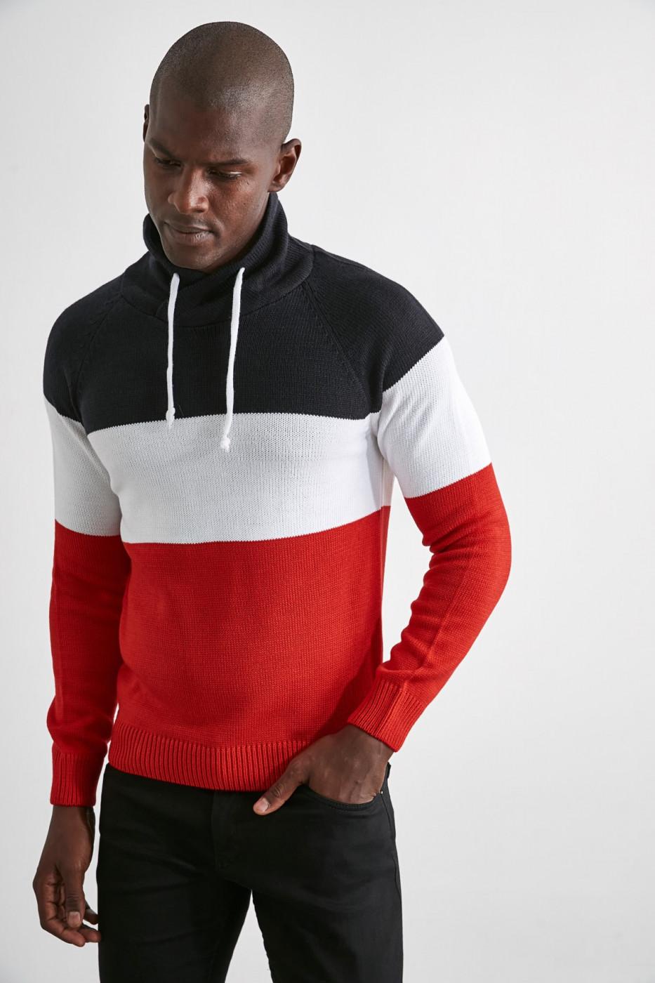 Trendyol Burgundy Men's Paneled Shawl Collar Sweater
