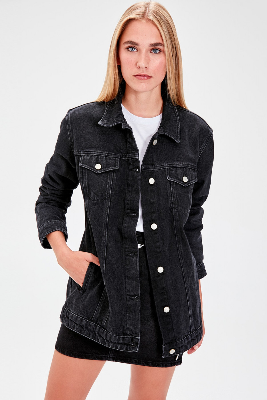 Trendyol Black Long Basic Denim Jacket