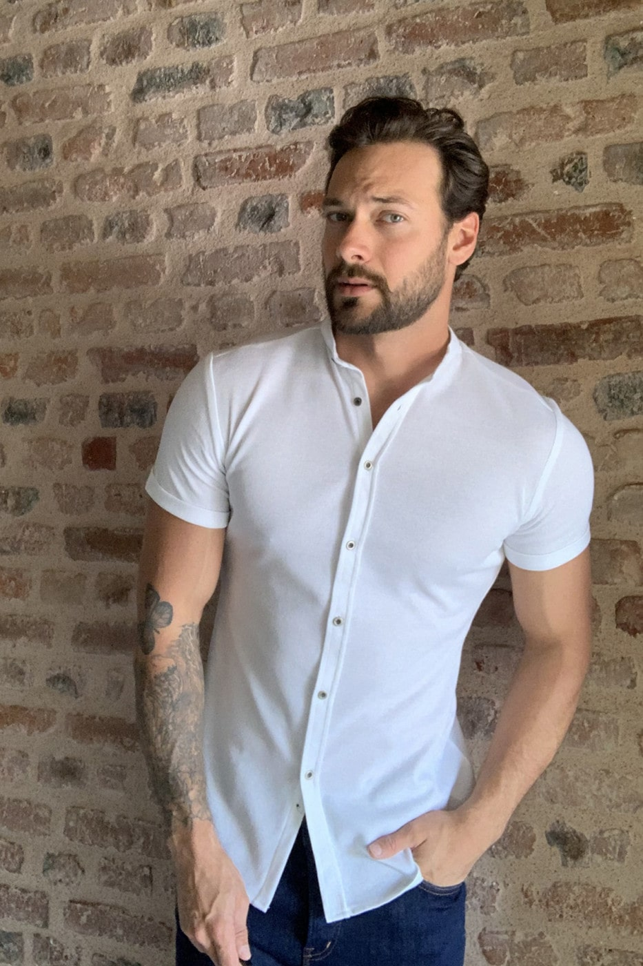Trendyol White Male Judge Collar Kup short sleeve knitted shirt