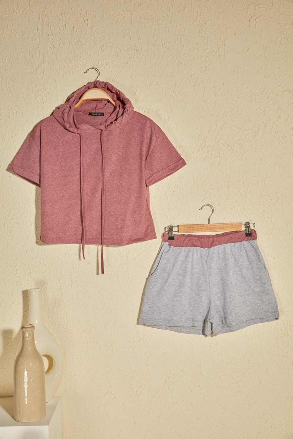 Trendyol Rose Dry Hoodie Half-Sleeve Pyjama Set