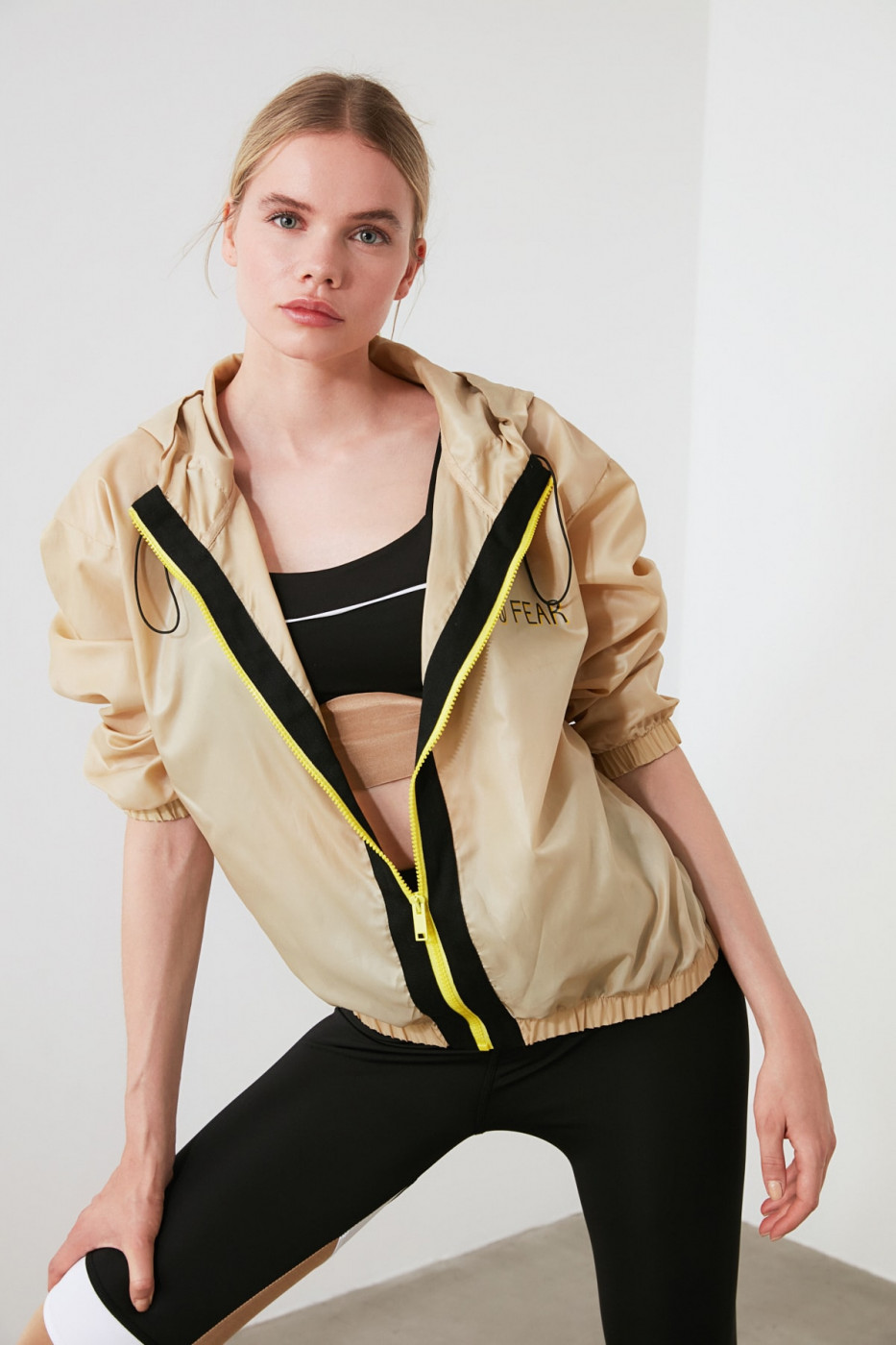 Trendyol Gold Hoodie and Printed Sports Jacket