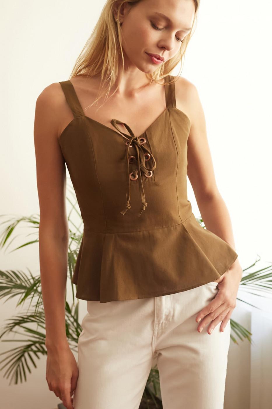 Trendyol Khaki Binding Detailed Blouse