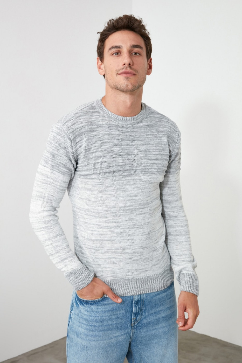 Trendyol Ekru Men's Paneled Bike Collar Slim Fir Knitwear Sweater