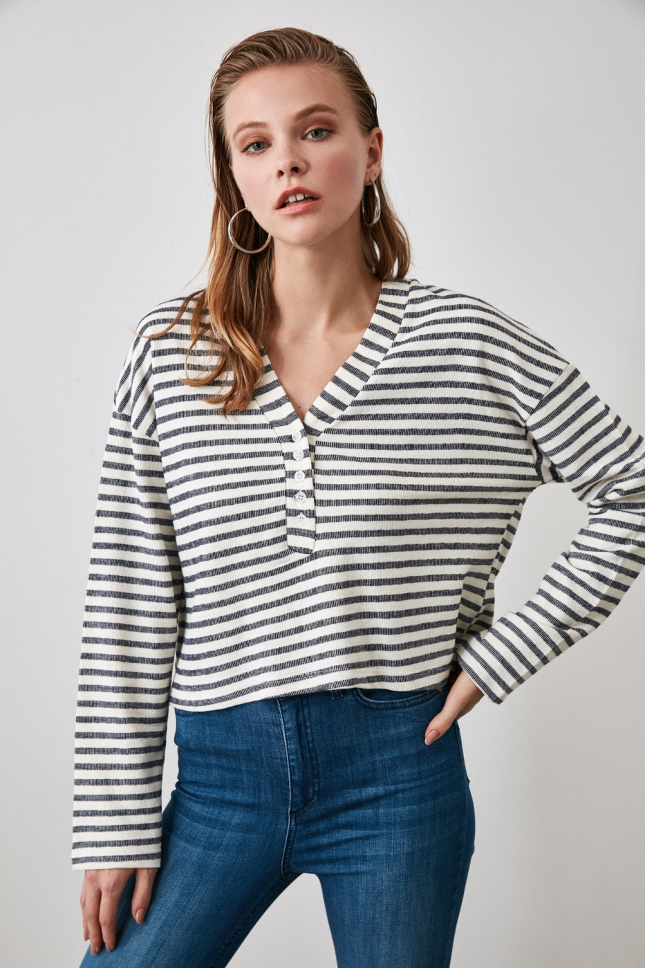 Trendyol Navy Striped Knitted Blouse