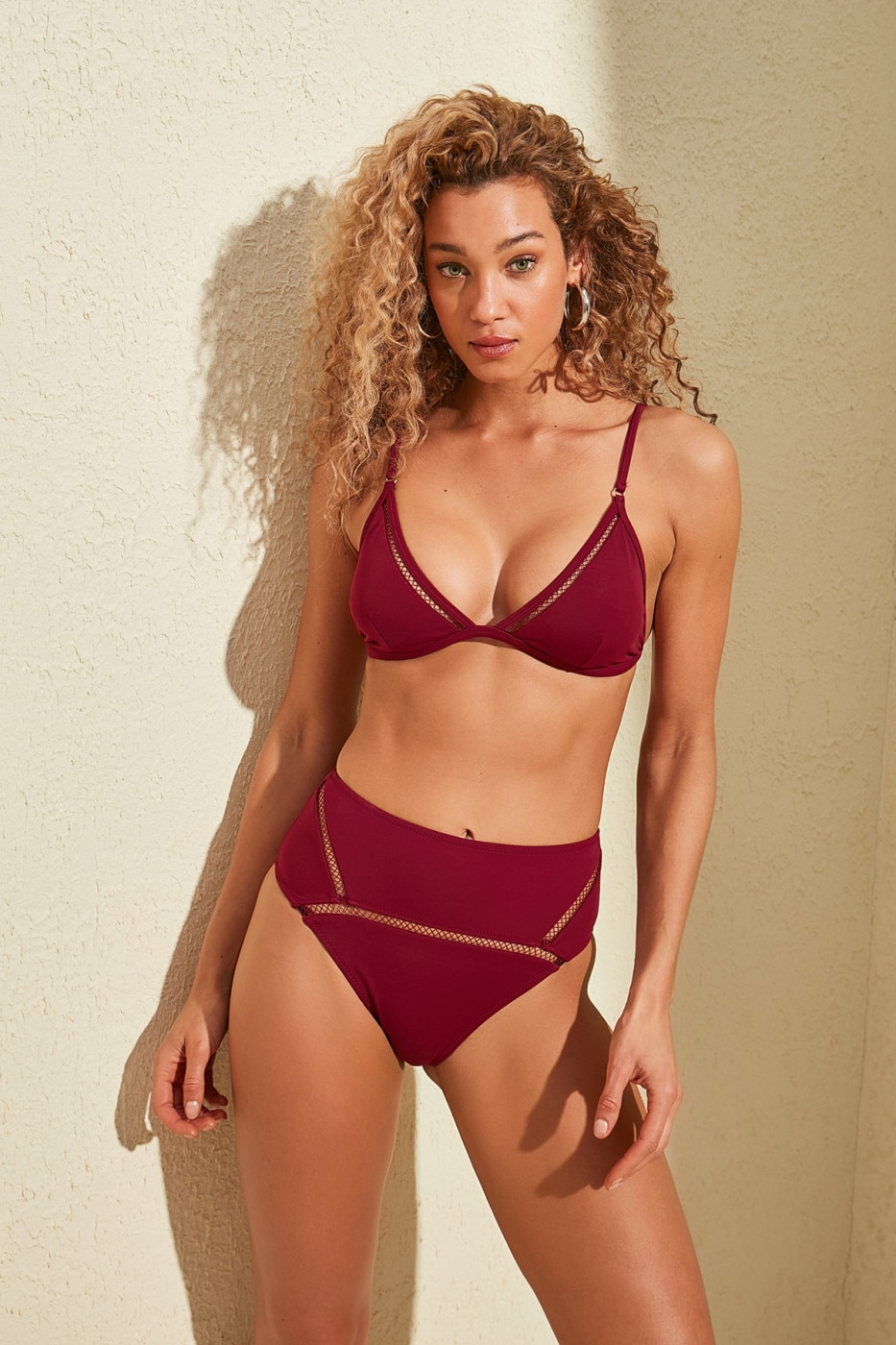 Trendyol Burgundy Ribbon Accessory Detailed High Waist Bikini bottom