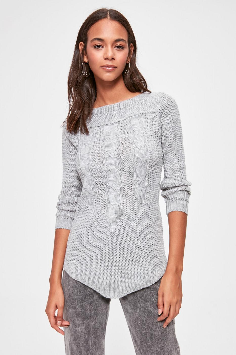 Trendyol Grey Hair Braided Knitwear Sweater