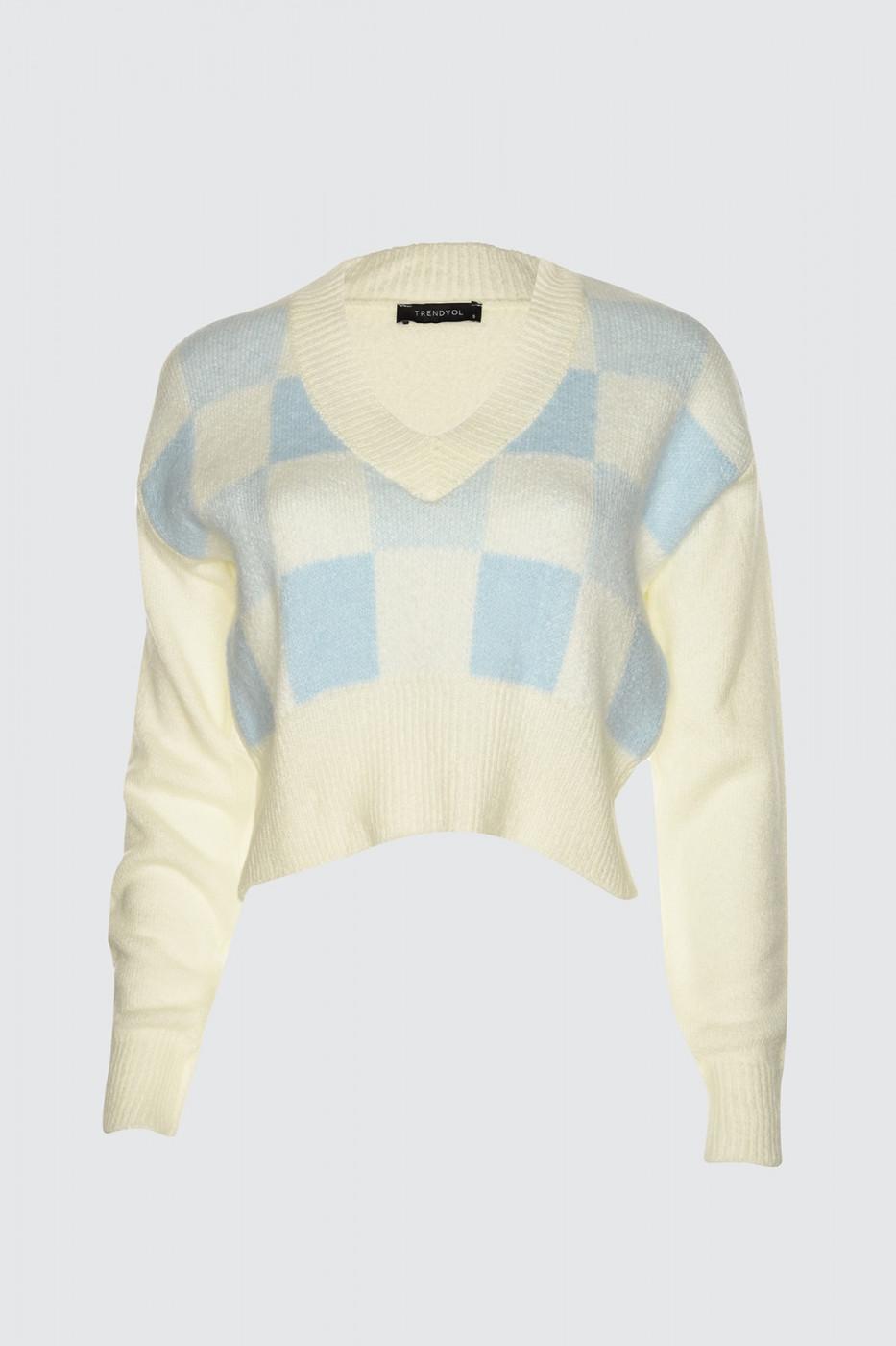 Trendyol Ekru Geometric Patterned Knitwear Sweater