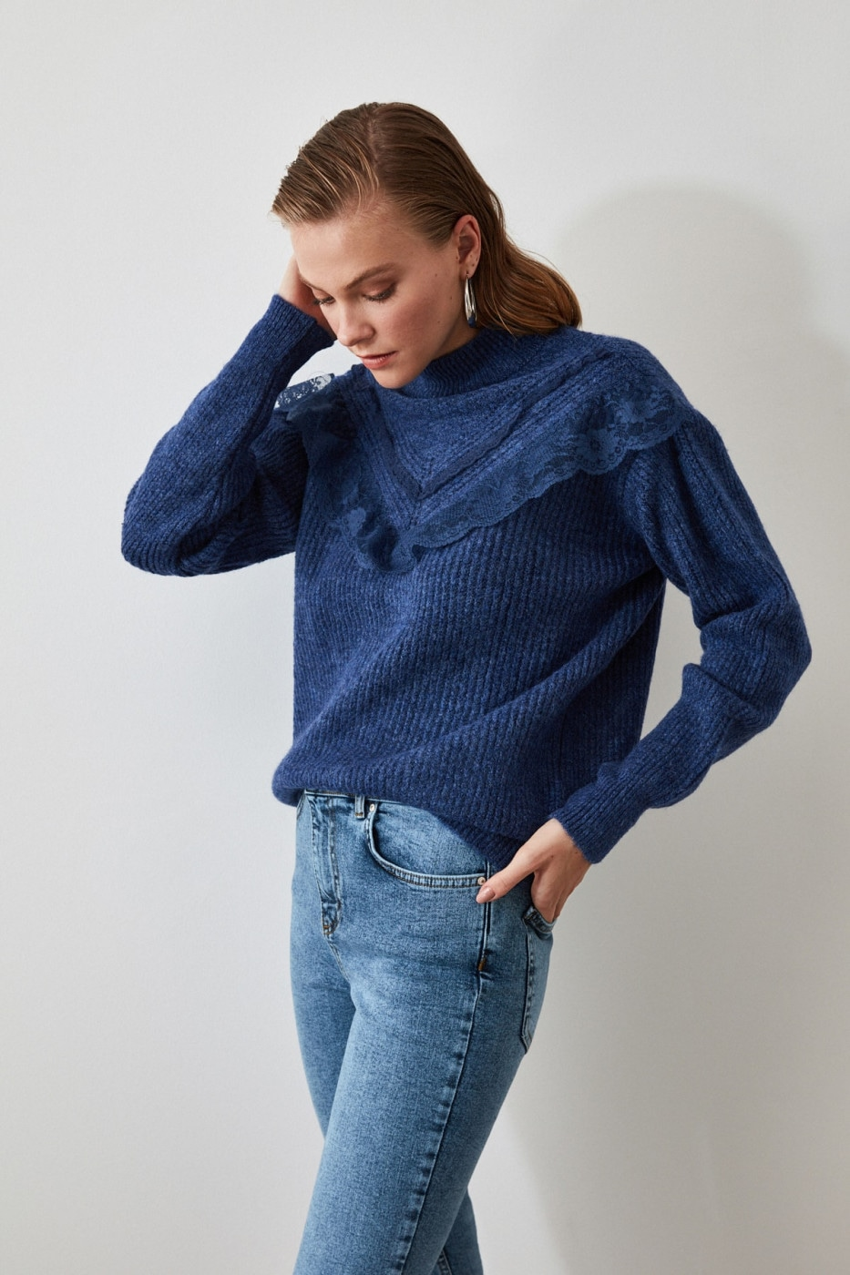 Trendyol Indigo Lace Knit Sweater