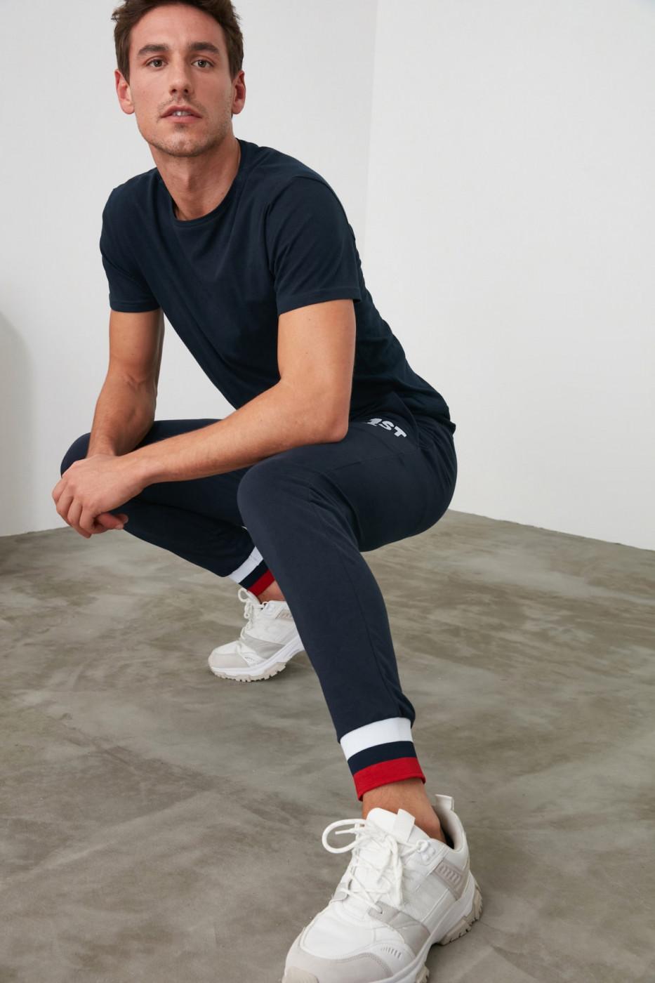 Trendyol Navy Printed Leg Detailed Men's Tracksuit bottom