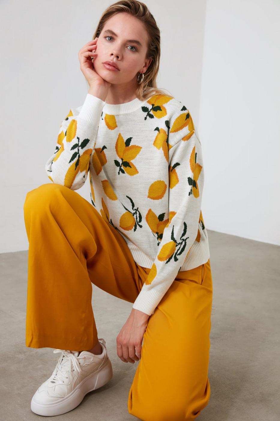 Trendyol Multi-Color Lemon PatternEd Jacquard Knit Sweater