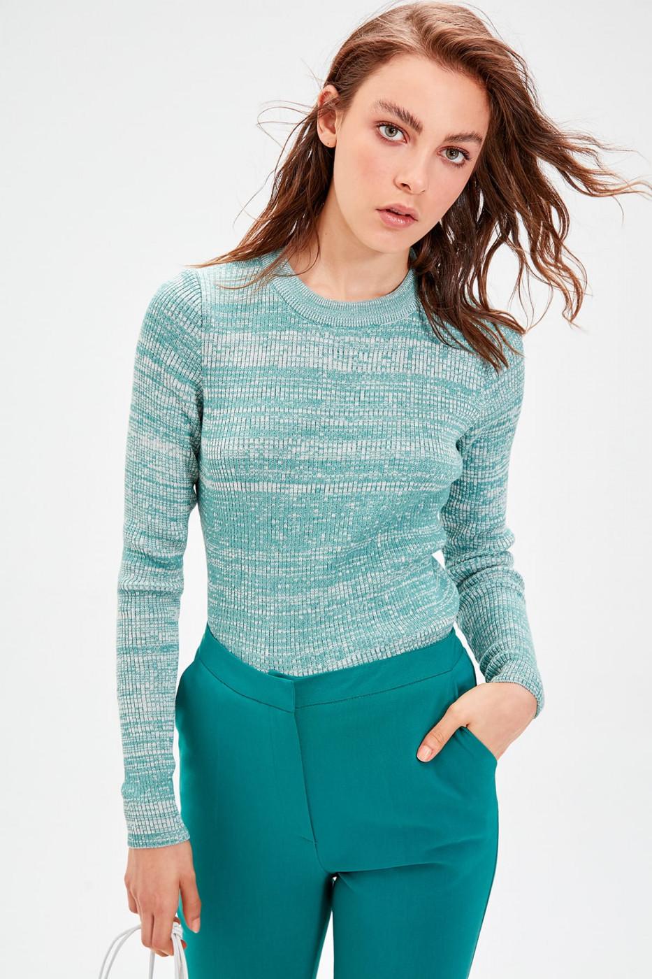 Trendyol Turquoise Multicolored Knitwear Sweater