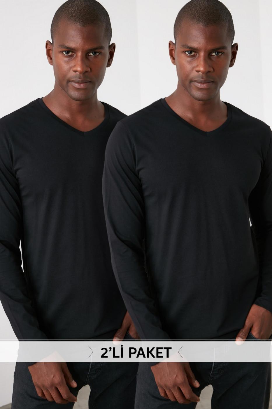 Trendyol Black Men 2 Pack V Collar T-Shirt