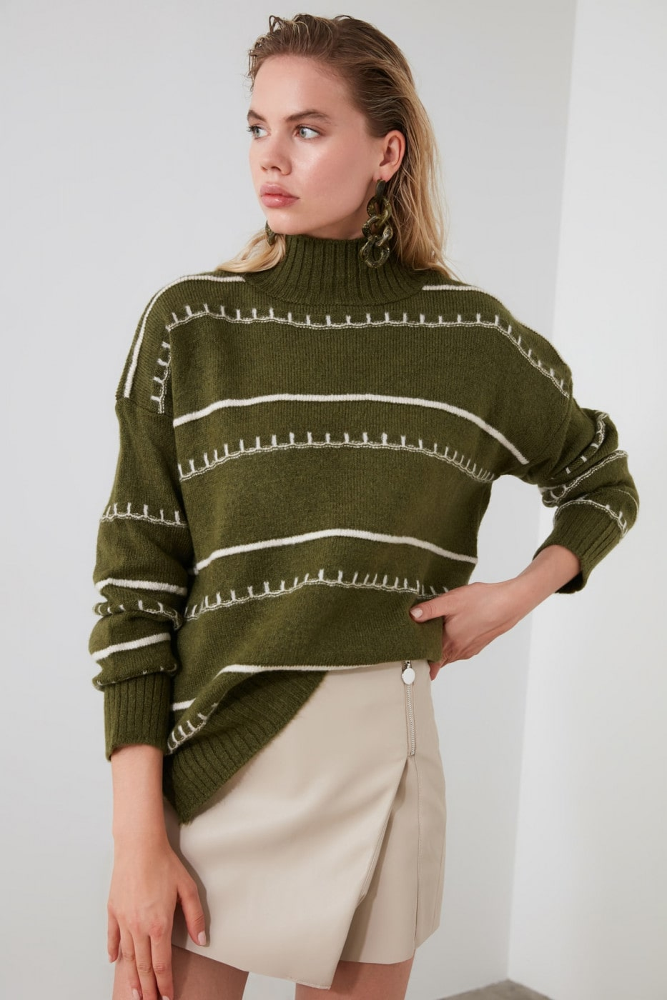 Trendyol Khaki Striped Knit Sweater