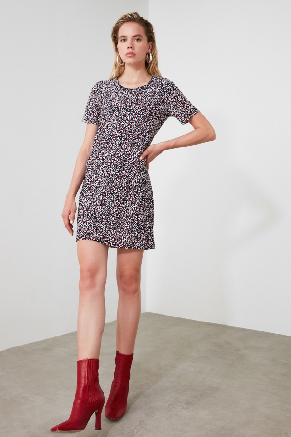 Trendyol Navy Printed Mini Knitting Dress