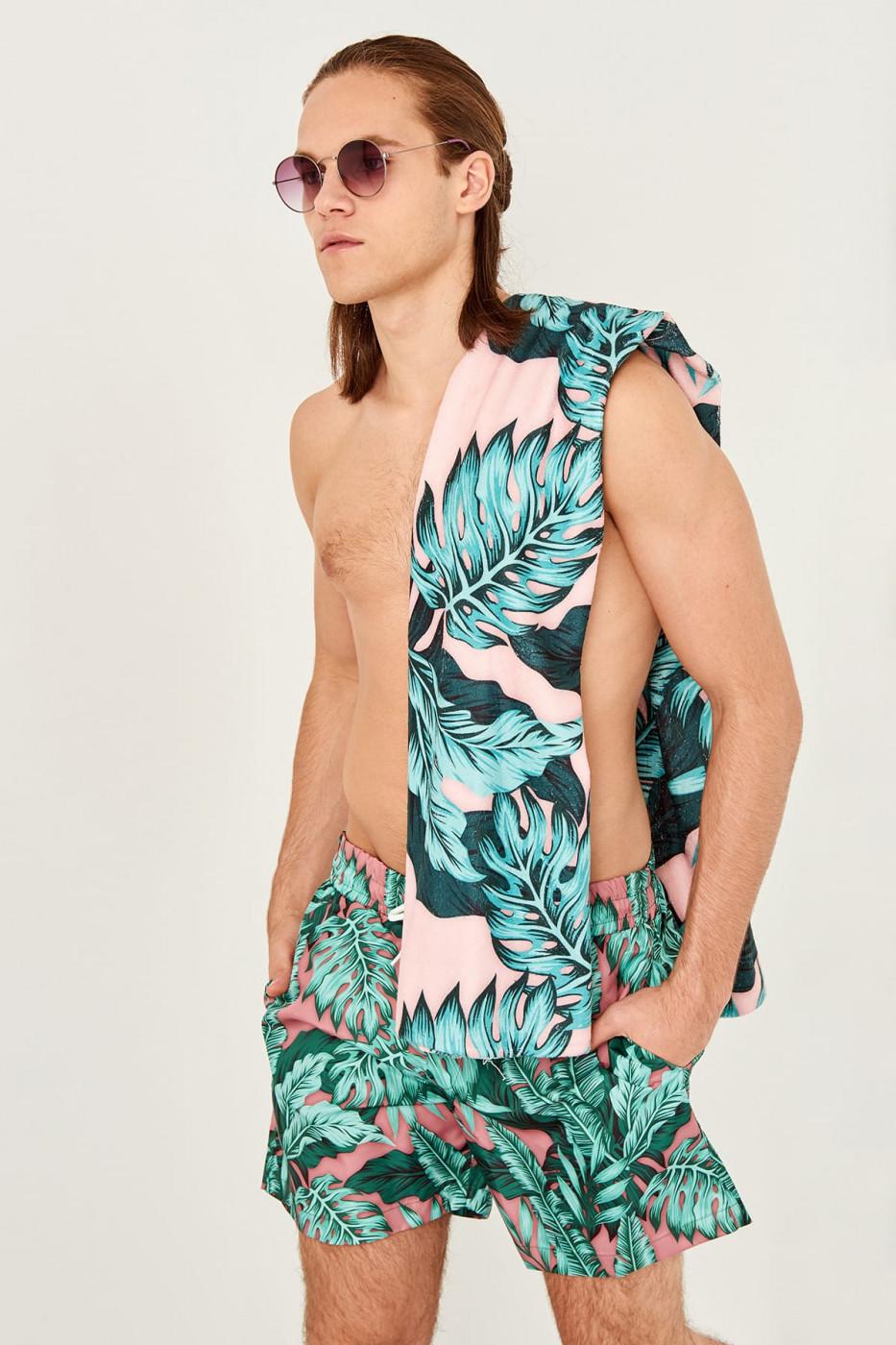 Trendyol Pink male patterned Beach towel