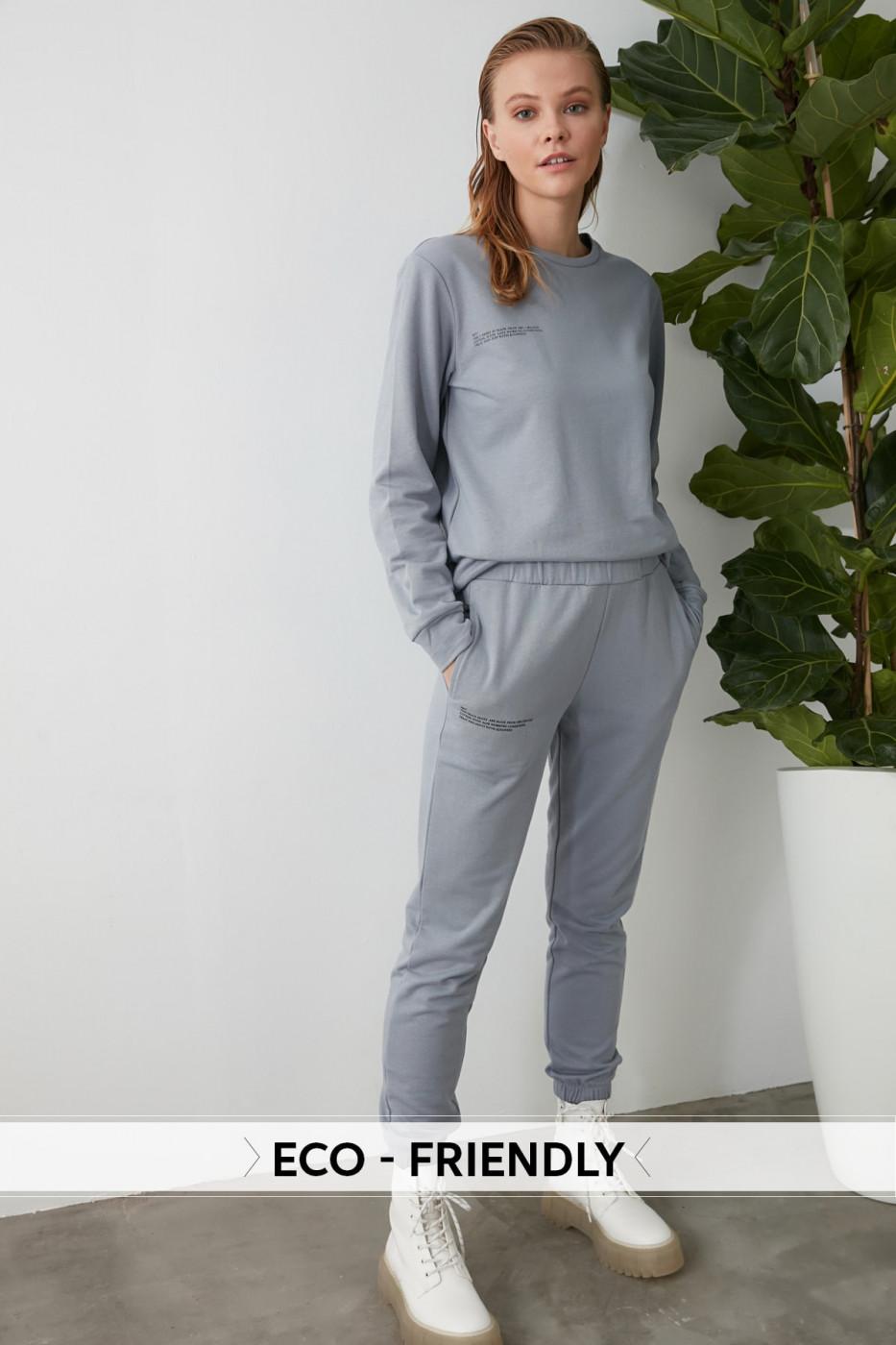 Trendyol Grey Printed 100% Organic Cotton Basic Jogger Knitted Tracksuit bottom
