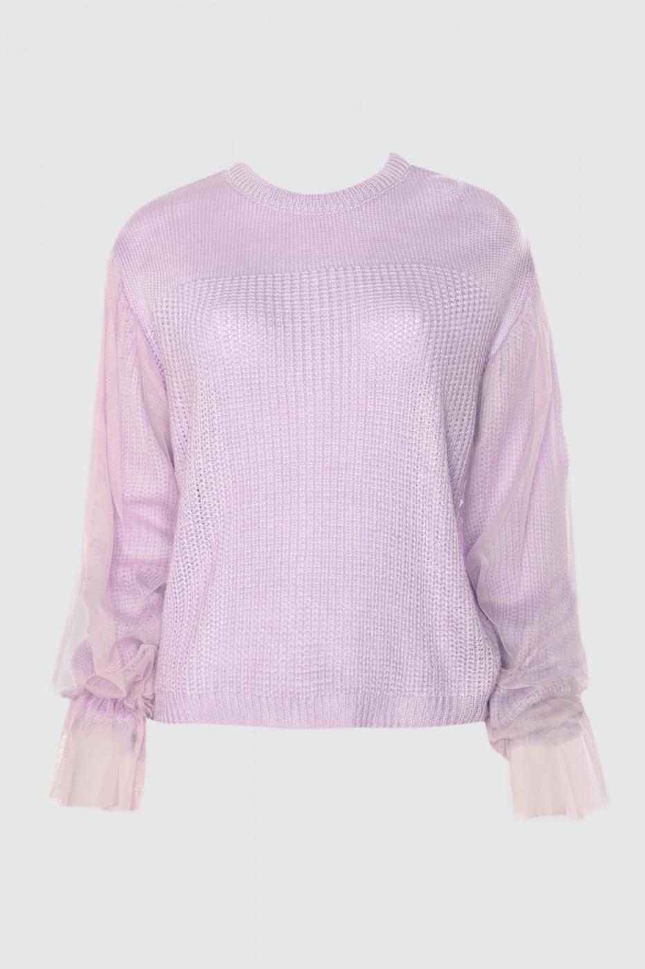 Trendyol Lila Tulle Detailed Knitwear Sweater