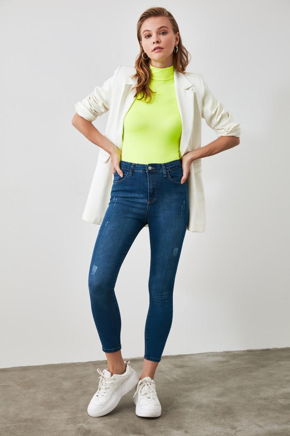Trendyol Navy Weary High Waist Jeans