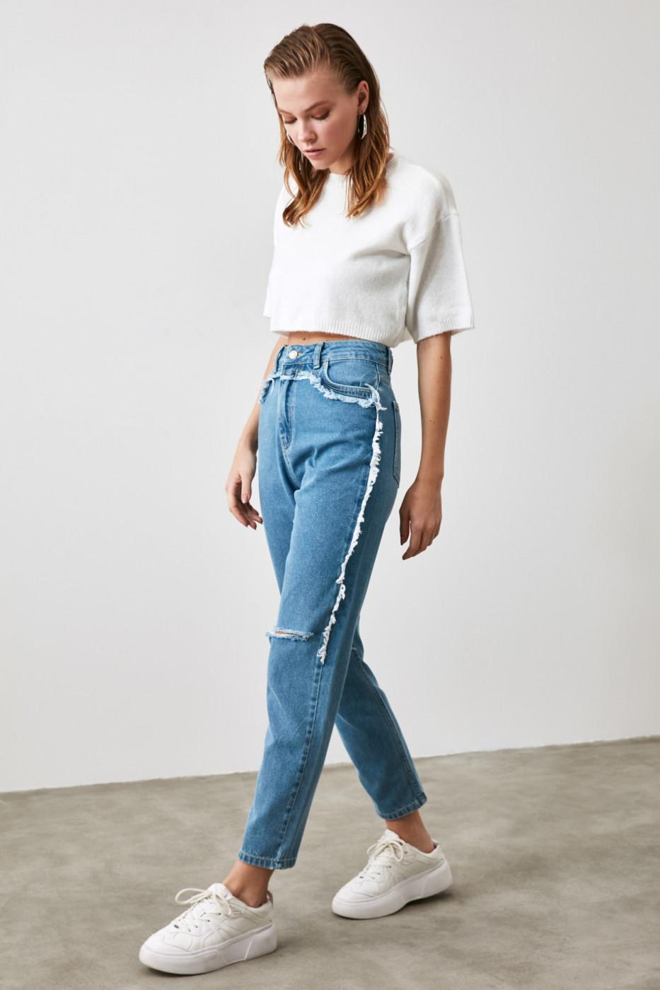 Trendyol Indigo Ripped Tassel Detailed High Waist Mom Jeans