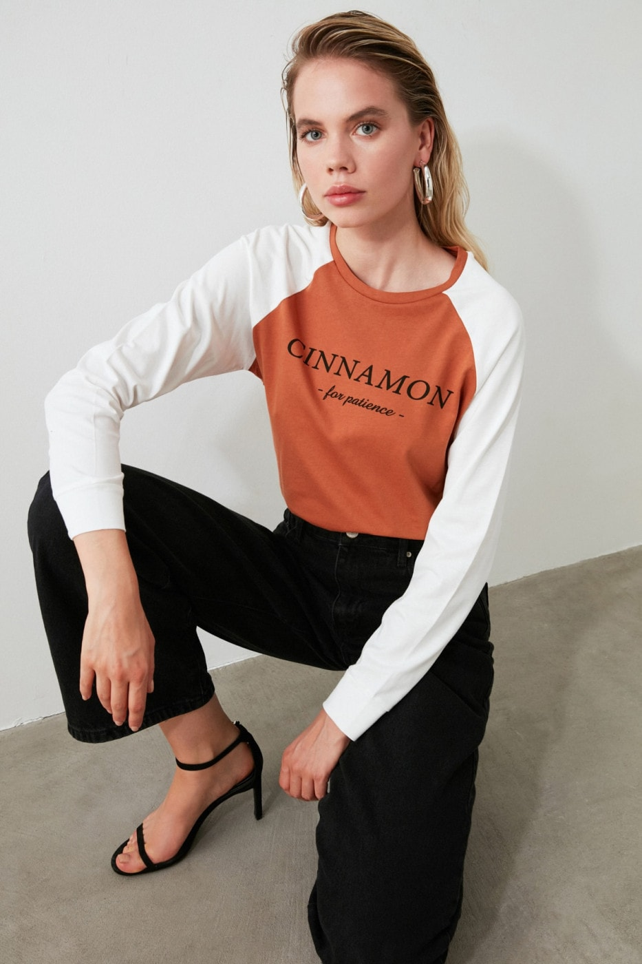 Trendyol Cinnamon Color Block Printed Basic Knitted T-Shirt