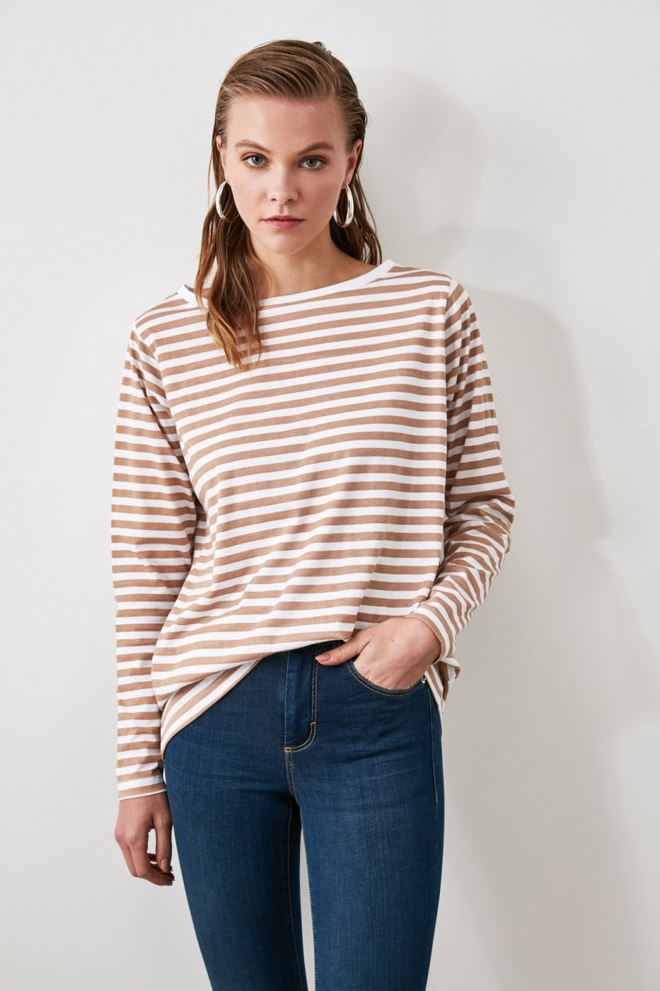 Trendyol Camel Striped Boat Collar Basic Knitted T-Shirt