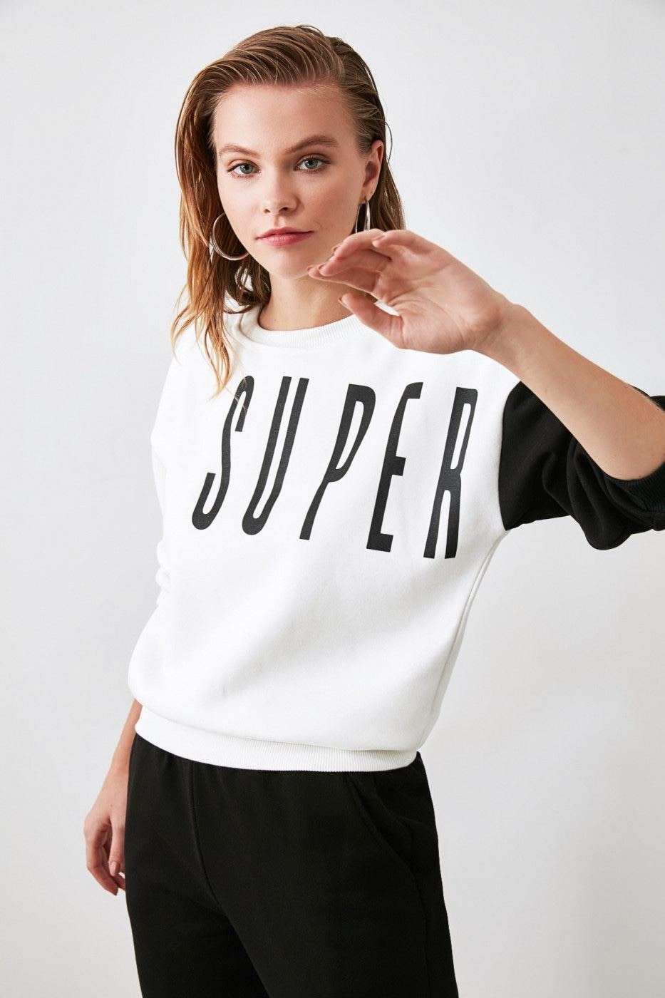 Trendyol Ekru Printed Basic Knitted Sweatshirt