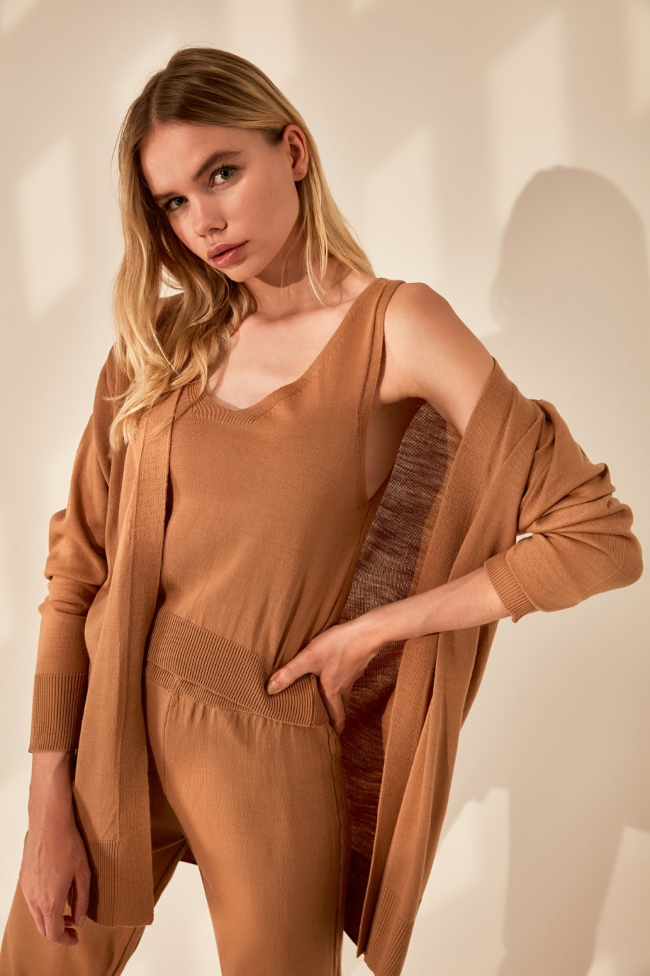 Trendyol Camel 3 Knitwear Bottom-Top Team
