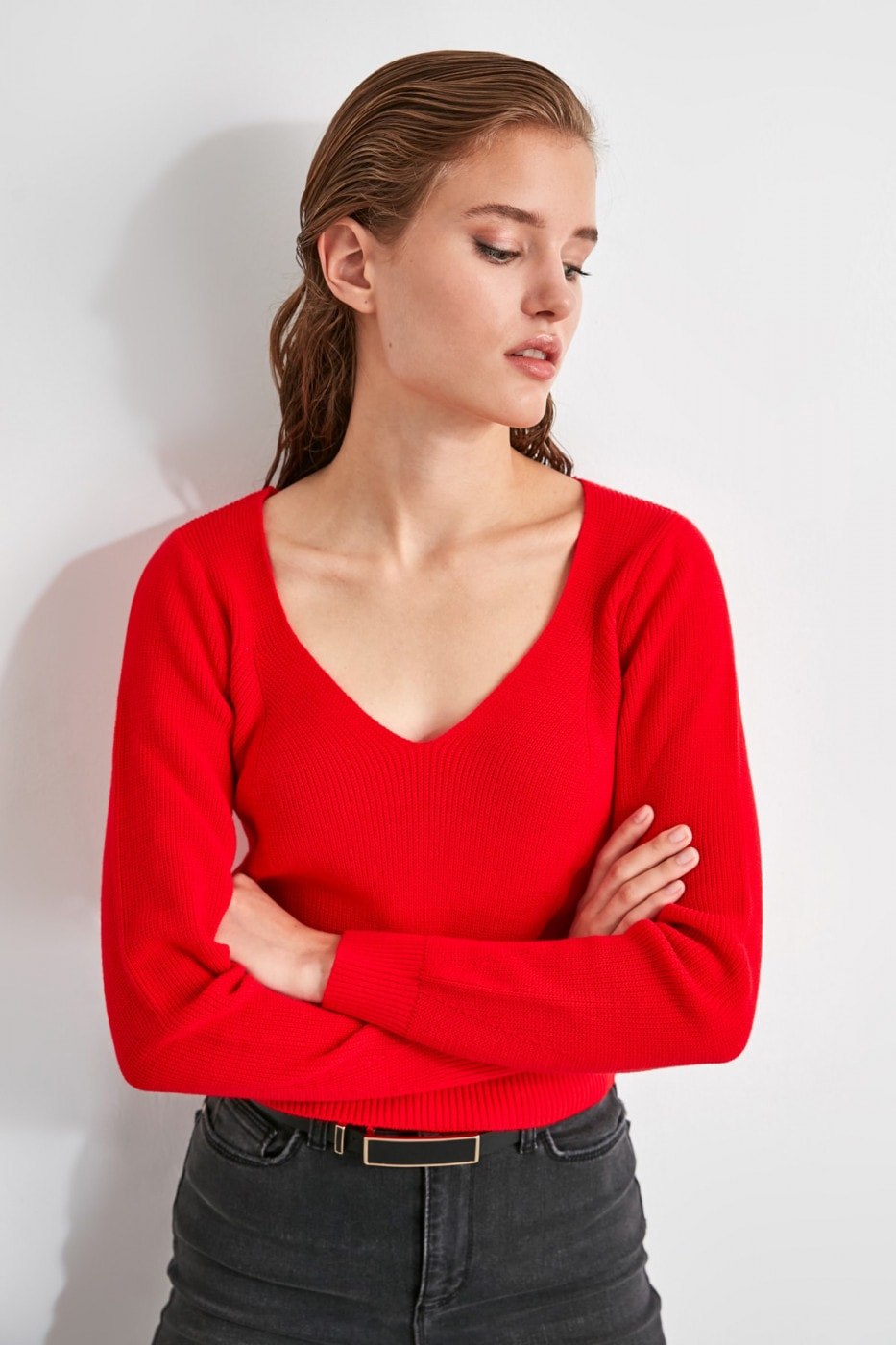 Trendyol Red V Collar Knit Sweater