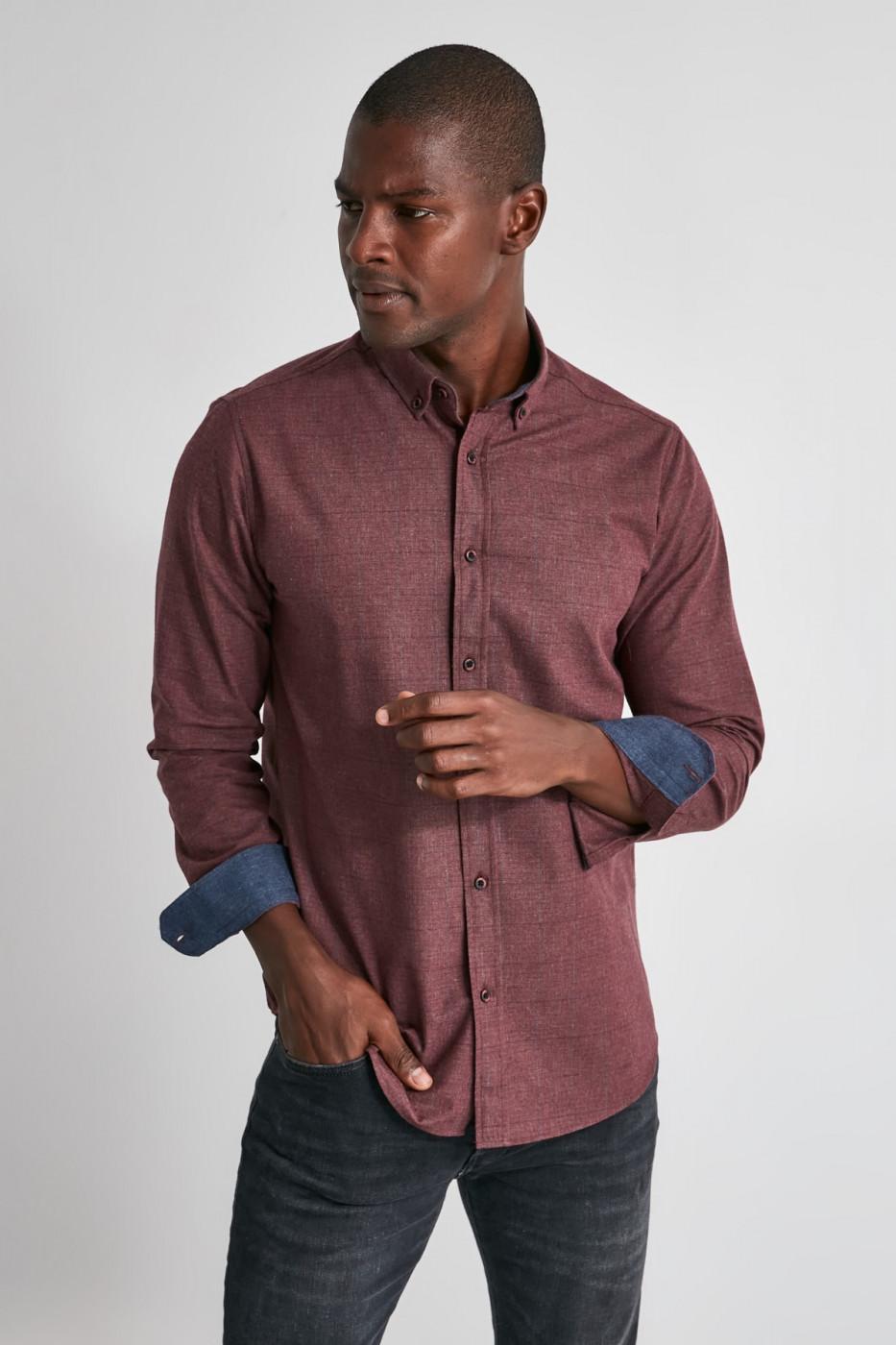 Trendyol Burgundy Male Plaid Slim Fit Shirt