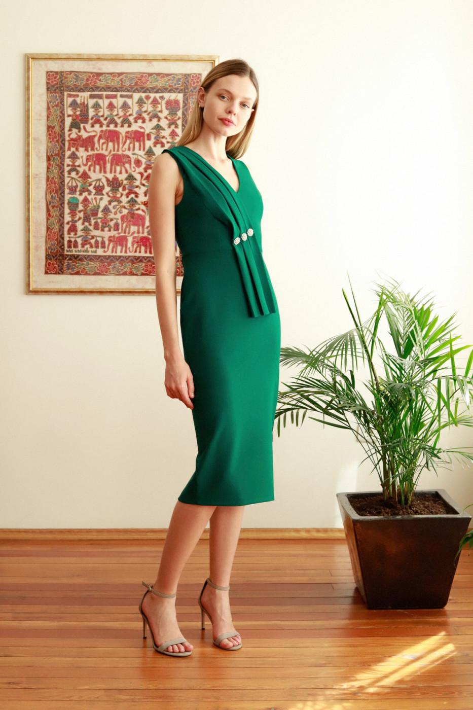Trendyol Emerald Green Stone Detailed Dress
