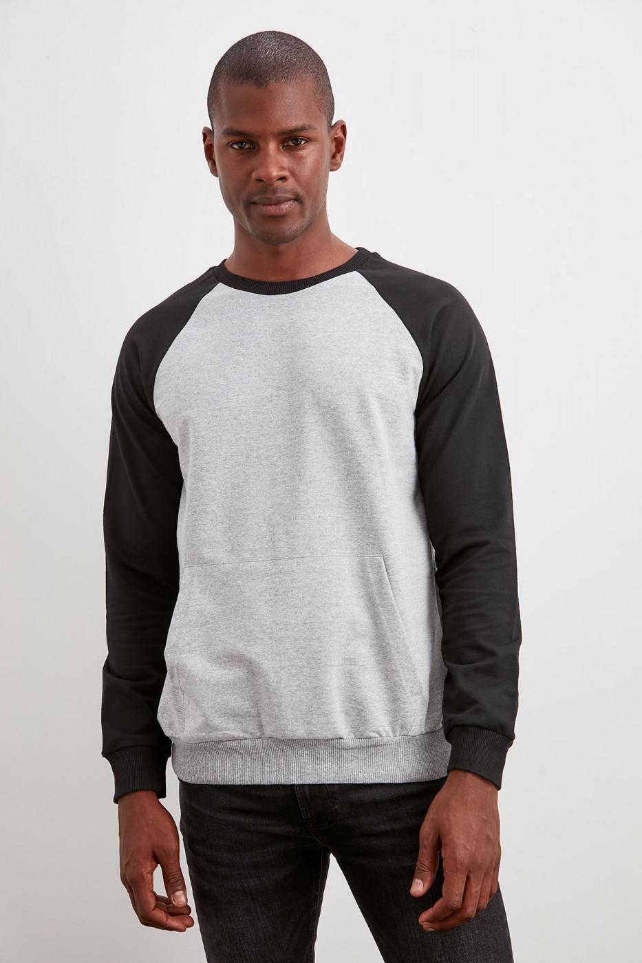 Trendyol Grey Men's Bicycle Collar Kangaroo Pocket New Sweatshirt