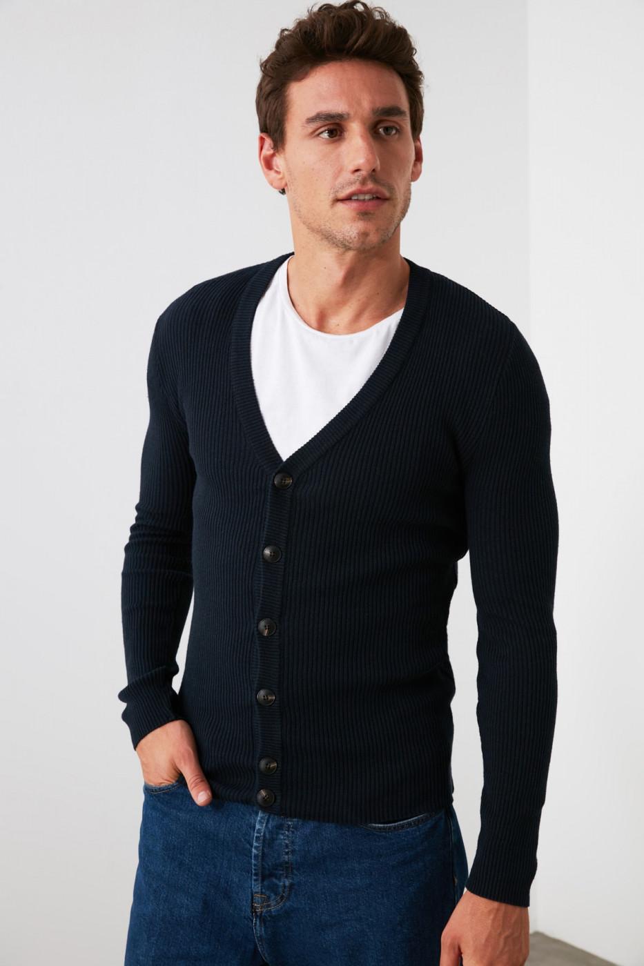 Trendyol Navy Men's V Button Rubber Mesh Cardigan