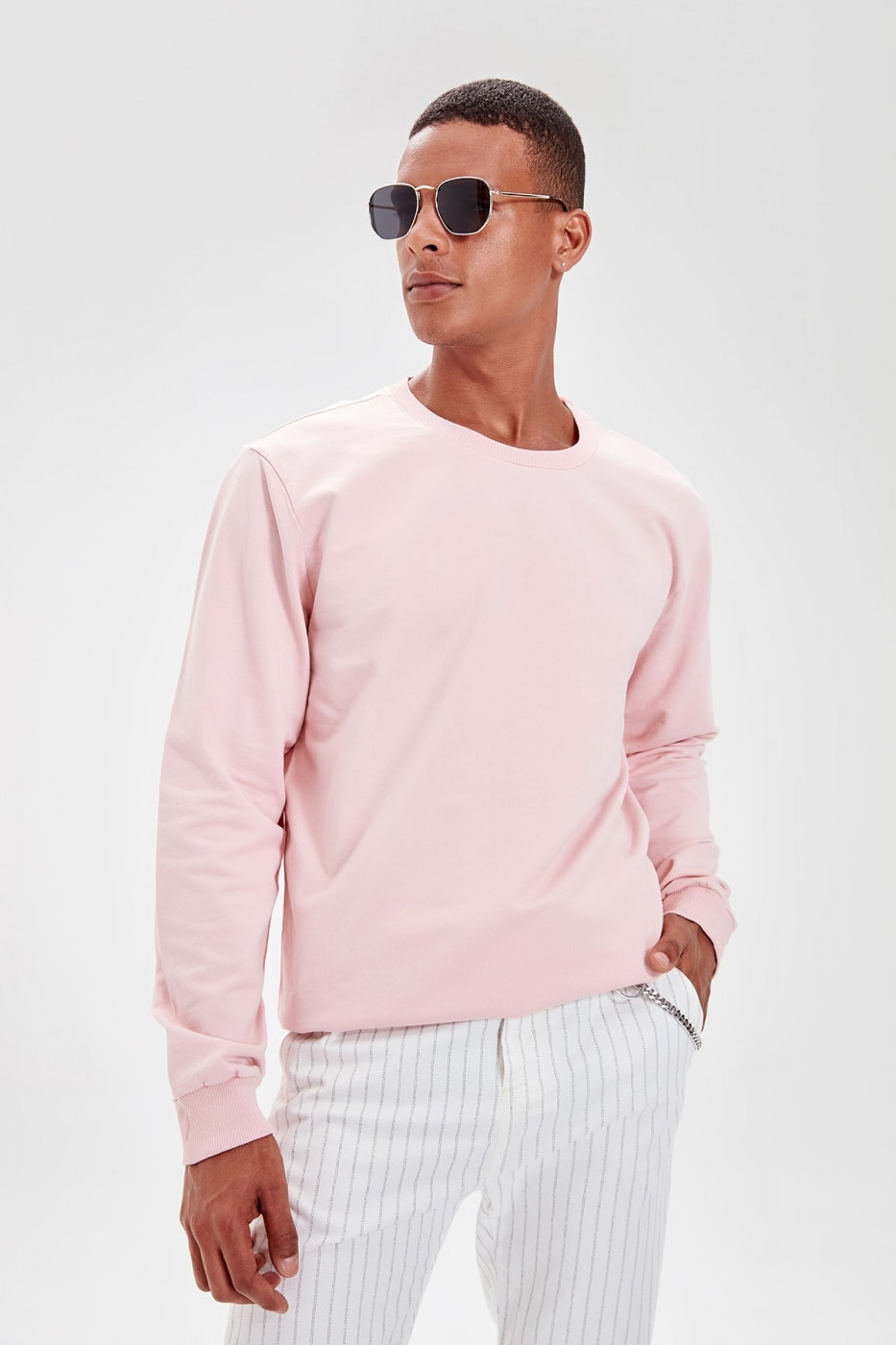 Trendyol Rose-Dried Men's Bicycle Collar Long Sleeve Sweatshirt