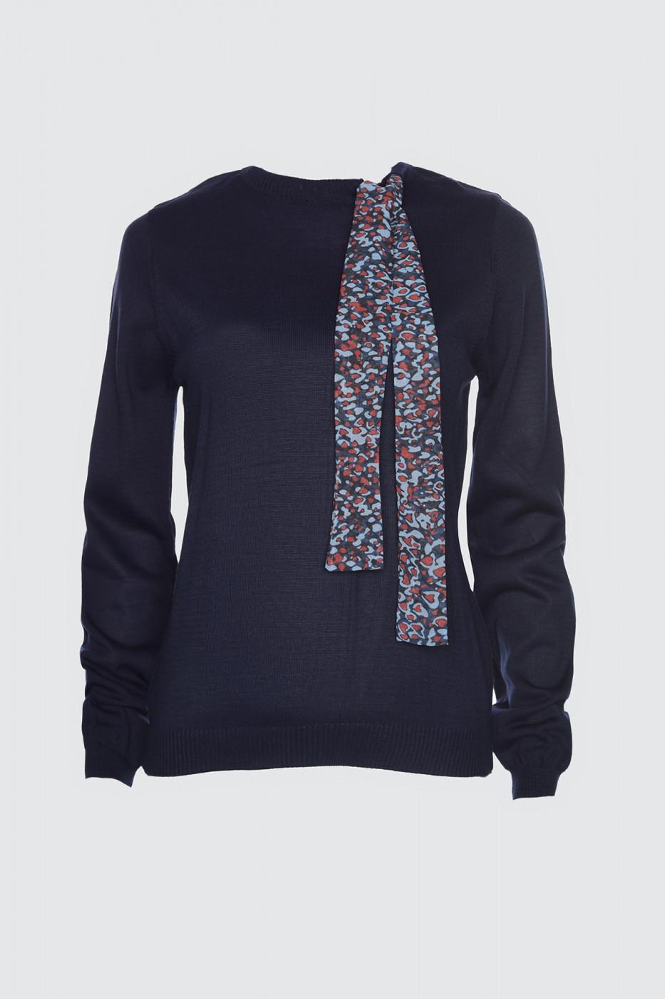 Trendyol Navy Scarf Detailed Knitwear Sweater