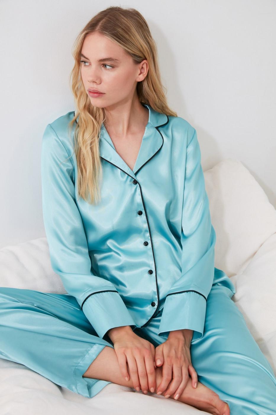 Trendyol Blue Satin Pyjama Set
