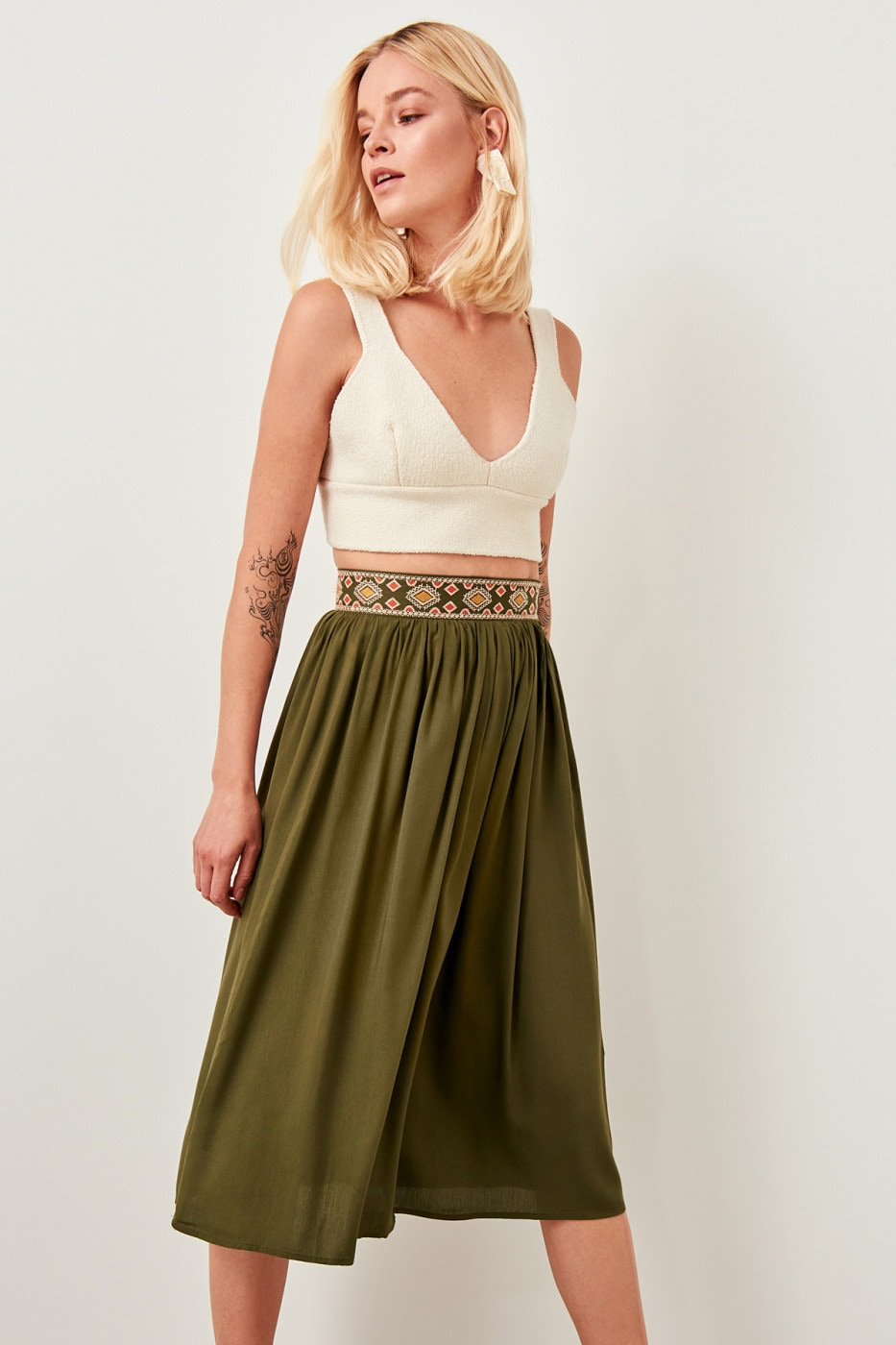 Trendyol Khaki Patterned Skirt