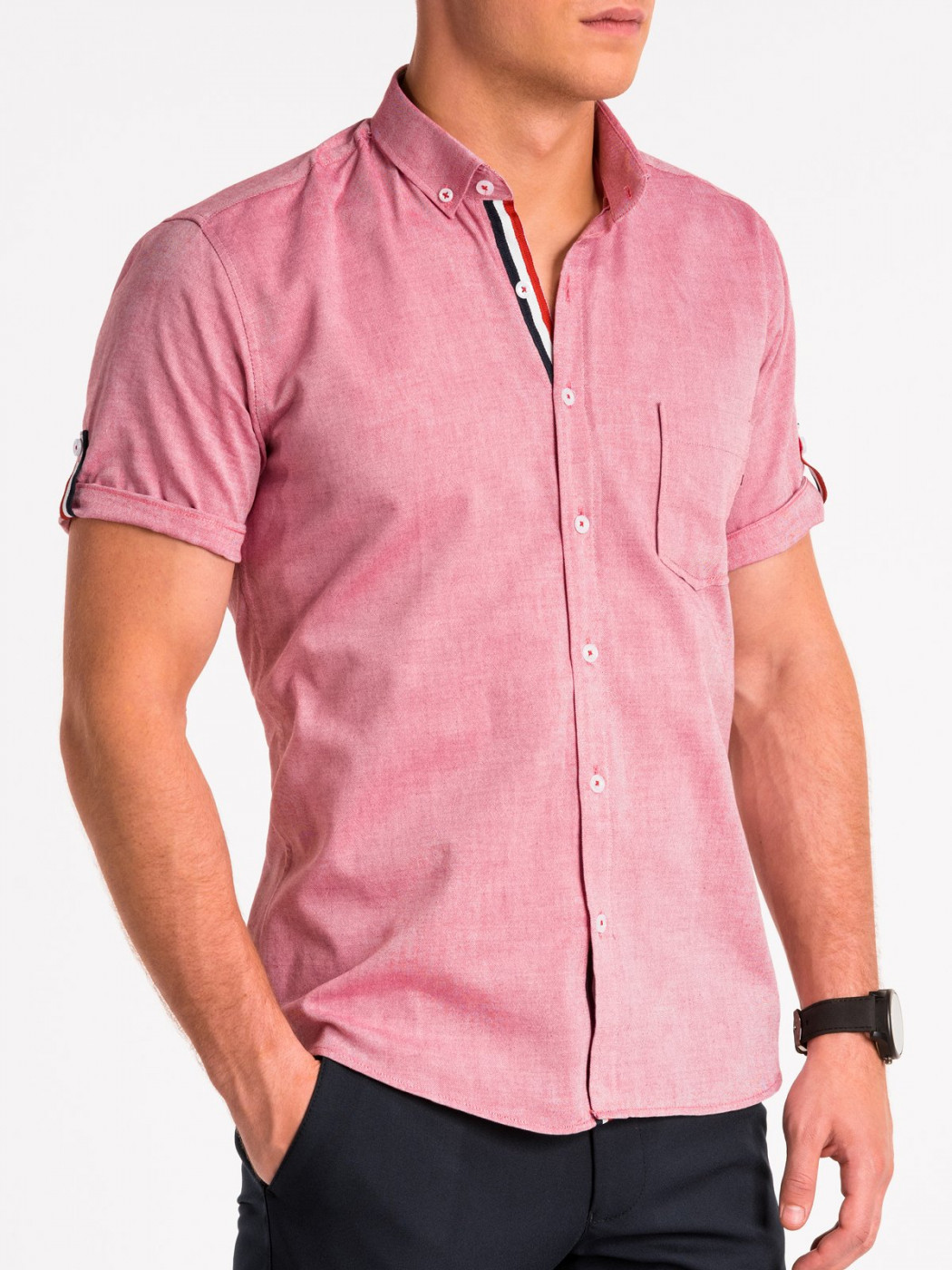 Men's shirt with short sleeves K489 - red