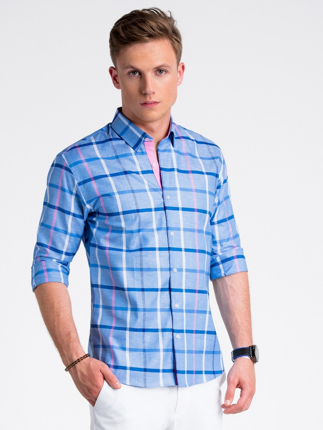 Ombre Clothing Men's elegant shirt with long sleeves K493