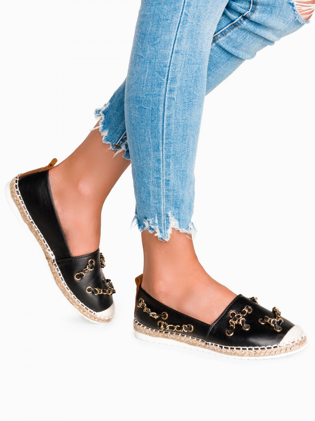 Larica Women's espadrilles with chains  LR213 black