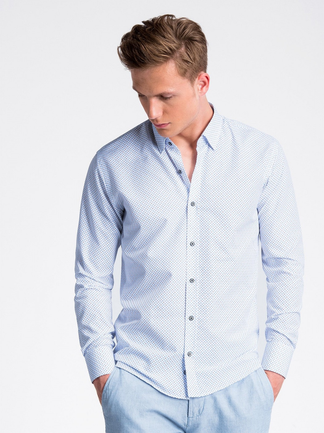 Ombre Clothing Men's shirt with long sleeves K477