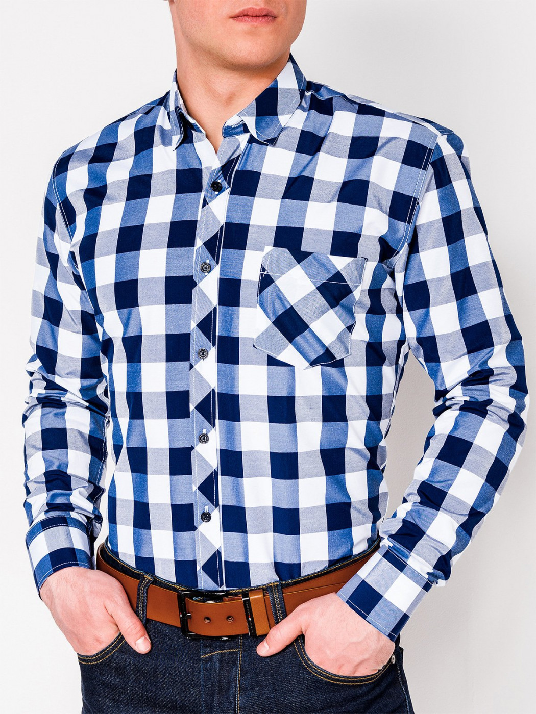 Men's check shirt with long sleeves K282 - navy