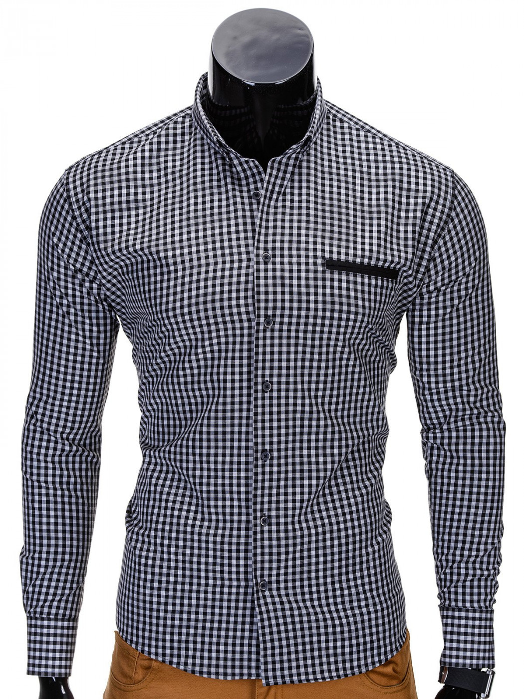 Ombre MEN'S CHECK SHIRT WITH LONG SLEEVES K319