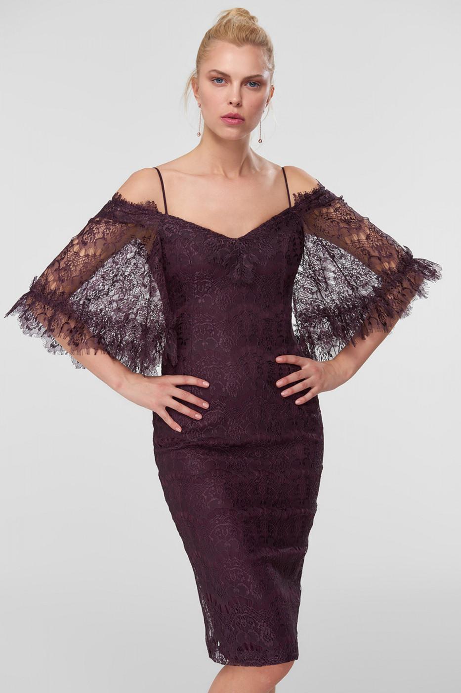 4fcdae1ee024d Trendyol Plum Branch Flanged Lace Dress - ALIATIC