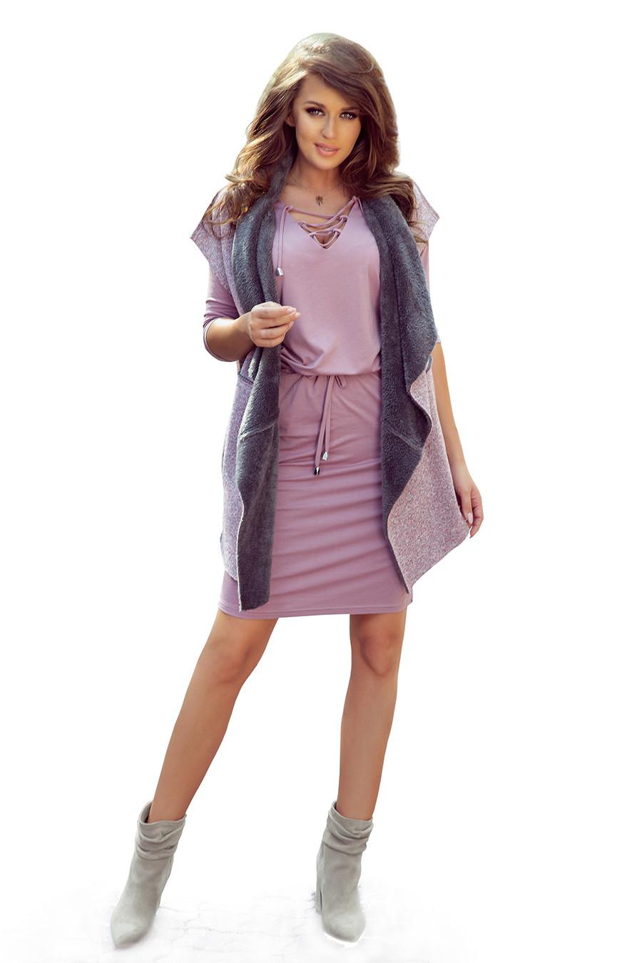 NUMOCO Woman's Vest 276-1 Pink/Grey