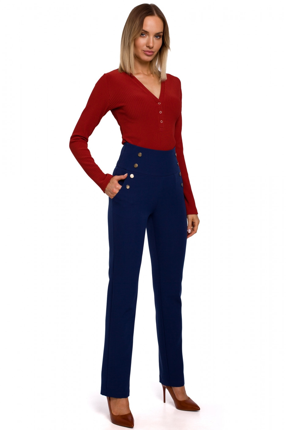 Made Of Emotion Woman's Trousers M530 Navy Blue