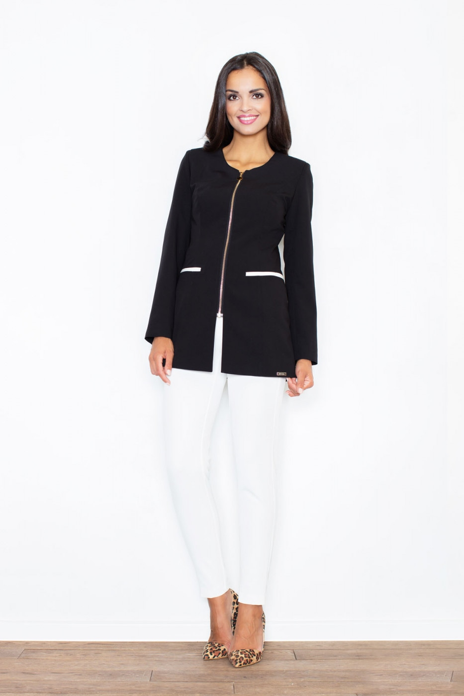 Figl Woman's Jacket M409 Black-Ecru