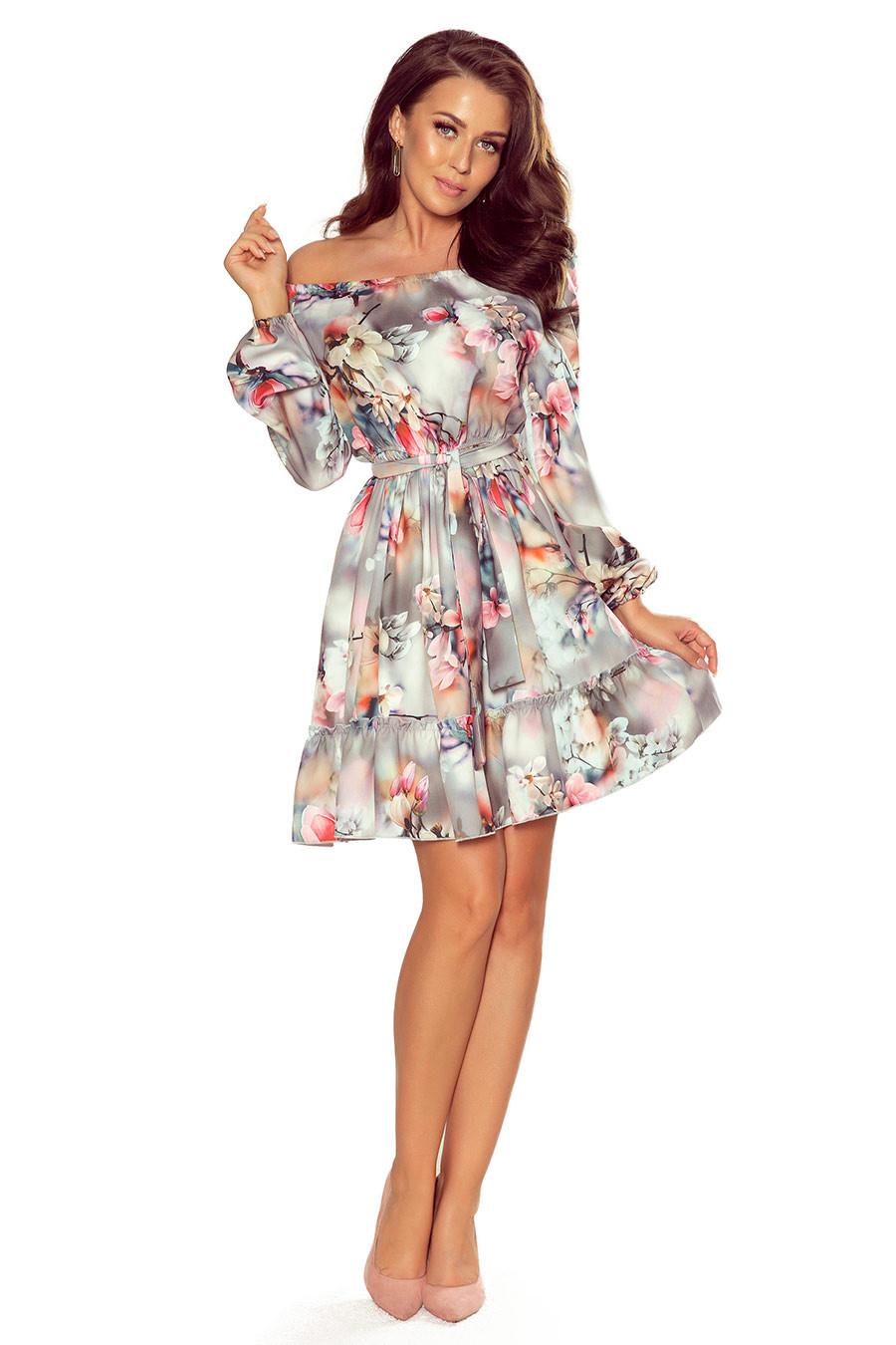 NUMOCO Woman's Dress 265-3 Grey/Flowers